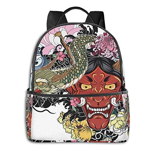 Schulrucksack Schultaschen Mädchen Teenager Rucksack Schultasche Schulrucksäcke wasserdichte Backpack für Damen Herren Geeignet 14 Zoll Notebook Oni Dämonenmaske Lotus
