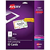 Avery Self Laminating Cards, Printable, 2-1/4' x 3-1/2', 30 ID Badge Holders (5361) - White