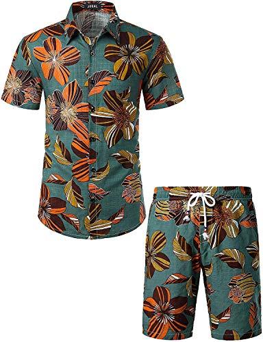 JOGAL Men's Flower Casual Button Down Short Sleeve Hawaiian Shirt Suits Dark OliveGreen Medium