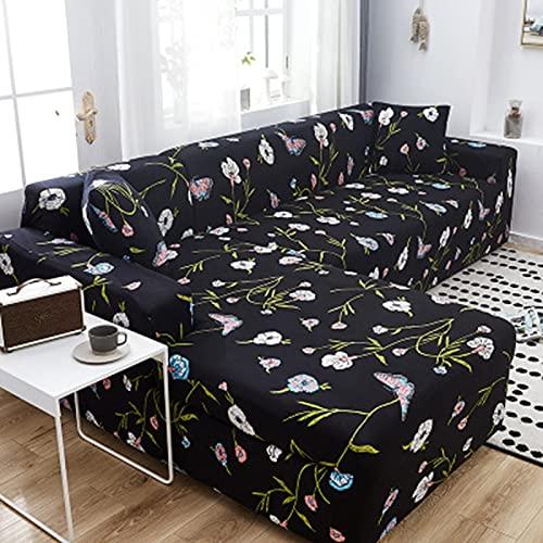 PPOS Funda de sofá Universal elástica en Forma de L para Sala de Estar Funda Impresa para Fundas de sofá Funda de sofá elástica A13 4 Asientos 235-300cm-1pc
