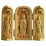 Kwan Yin Buda Shakyamuni Estatua Madera de boj Tallado en Madera Escultura Caja Plegable Santuario