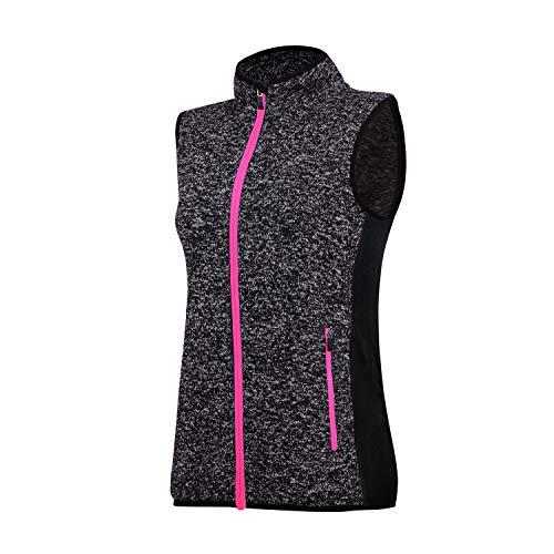 Fleece Vest Women Sleeveless Sweater Vest Full Zip, Women Golf Outerwear Vest Thermal& Winter Vest(Grey,Pink-Zip-S)