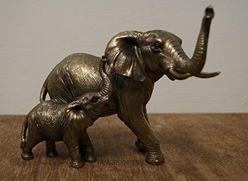 Leonardo Collection: Reflections Zierfiguren Elefant und Kalb, Bronze-Effekt