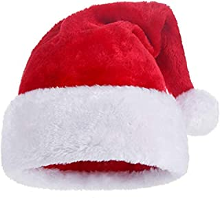 Plush Christmas Hats, Plush Santa Hat for Adults and Kids,Plush Red Velvet Christmas Hats with White Cuffs