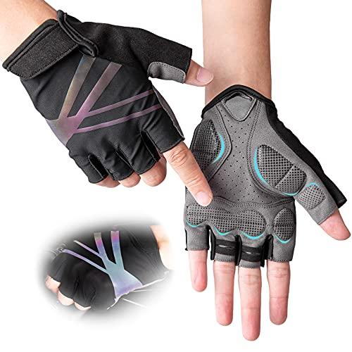 DAZZLIA Fahrradhandschuhe, MTB Handschuhe für Herren und Damen, Fahrrad Handschuhe Freizeit, Sommer Fingerlose Fitness Handschuhe Trainingshandschuhe (M)