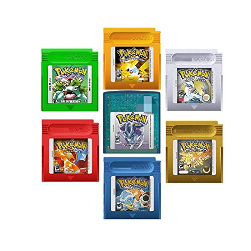 pkmn games, 7-Pack Red, Green, Blue, Yellow, Gold, Silver, Crystal, compatible GB GBC.