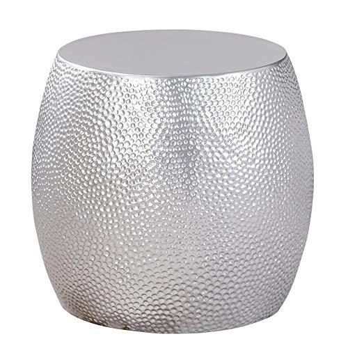 Jcnfa-bijzettafel Glas Bijzettafel, Zilveren Bijzettafel, Drumvormige Bijzettafel, Modern Voor Slaapkamer/Woonkamer