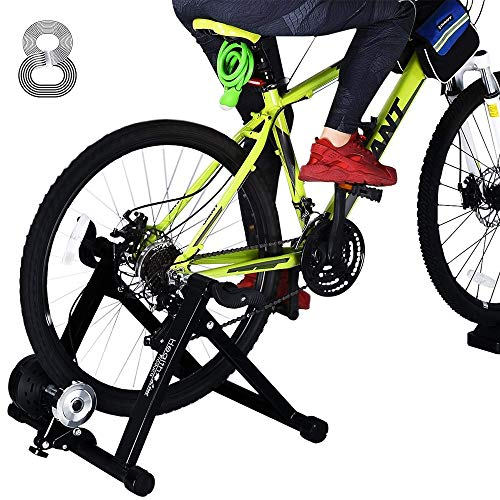 Bike Trainer Stand for 26'-29' Mountain & 700C Road Bikes, Indoor Stationary Bicycle Exercise w Quiet Noise Reduction / Wider 8 Levels Resistance