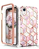 Hasaky Case for iPhone XR Case 6.1 Inch,Dual Layer Hybrid Bumper Cute Clear Girls/Women Marble Design Soft TPU+Hard Back Heavy Duty Anti-Scratch Shockproof Protective Phone Case Cover -Pink/Rose Gold