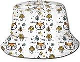 Sombrero de Cubo de Viaje con Estampado de árbol Encantador de Dibujos Animados Unisex, Gorra de Pescador de Verano, Sombrero para el Sol, Zorro de Seta de Dibujos Animados