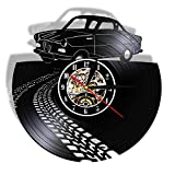 LMYLY Vintage Retro Car with Road Mark Silent Quartz Vinyl Record Wall Clock Sports Automobile Racecar Watch Car Lovers Home Decor-Without_Led