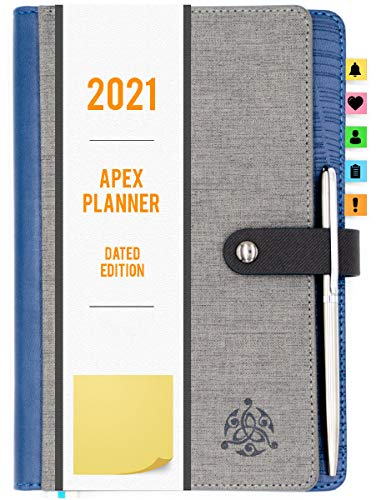 STYLIO APEX Planner 2021. Fully Dated Monthly, Weekly & Daily Calendar Planner. Include Planner Stickers & Executive Pen. Agenda/ Academic/School Schedule for Students