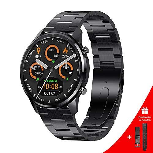 LEMFO Smartwatch Herren,1.3 Zoll Voll-Touchscreen Smartwatch mit Pulsuhr, Blutdruck- und Blutsauerstoffüberwachung, Schrittzähler und Schlafmonitor, auf Android- und IOS-Handys anwendbare Fitness Uhr
