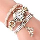 Uhr Damen Armband Uhr Schöne Uhren Weinlese Armband Vorwahlknopf Analoge Quarz-Armbanduhr Elegante Schicke Armbanduhr LEEDY (Einheitsgröße, C02)