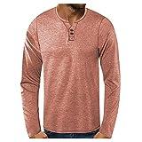 Jersey para hombre de manga larga, estilo informal, cuello redondo, con botones, patchwork, blusa de manga larga B_caqui. M