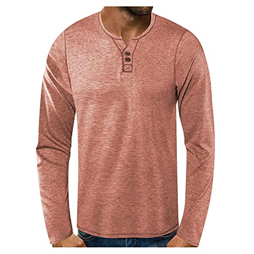Jersey para hombre de manga larga, estilo informal, cuello redondo, con botones, patchwork, blusa de manga larga