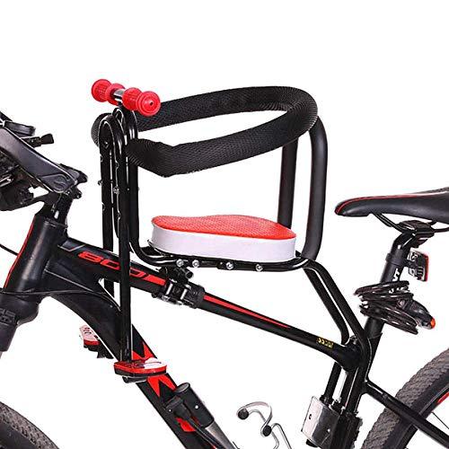 Saturey Seggiolino Bici per Bambini, seggiolino Bici Regolabile Bambino Anteriore con Schienale guardrail, Pedale, seggiolino Sella Bici per Bicicletta Pieghevole Cuscinetto MTB -50kg,Rosso
