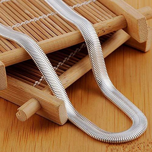 BJGCWY 925 Sterling Silber 16/18/20/22/24 Zoll 6mm Flache Schlangenkette Halskette für Männer Mode Hochzeitsschmuck55cm