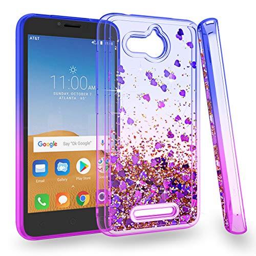 Zingcon Alcatel Tetra Phone Case,Alcatel 5041Glitter Quicksand Case,Shockproof Hybrid Hard PC Soft TPU Bling Adorable Shine Protective Cover-Blue/Purple
