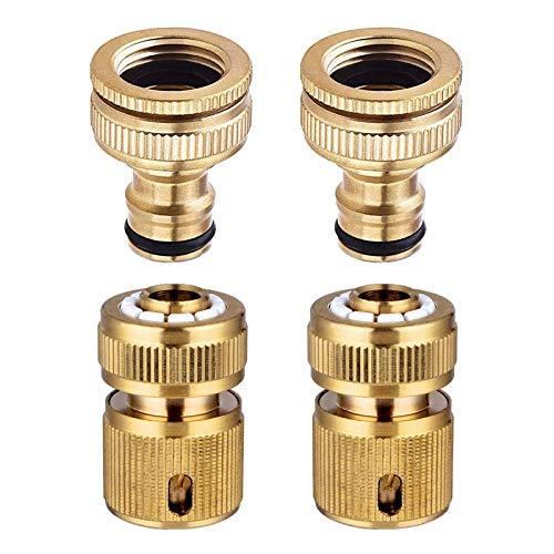 Ctzrzyt Conector de Grifo de Manguera de JardíN 4 Piezas Tama?O de 1/2 Pulgada y 3/4 de Pulgada Tubo de Manguera de 2 en 1 y 1/2 Pulgada Conector RáPido