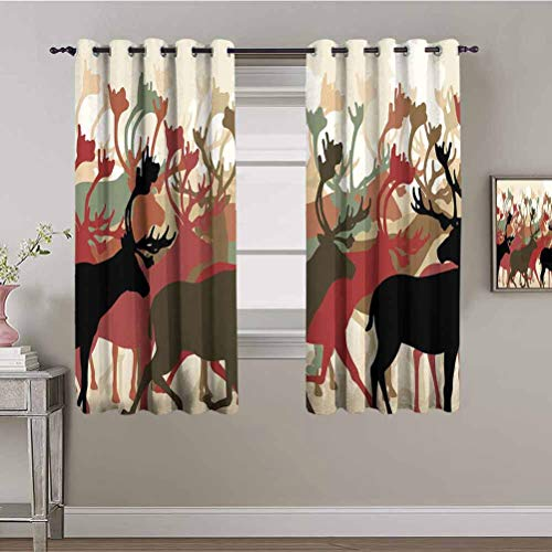 PGREA Sound Blocking Curtains Antler Decor Reindeer Caribou Herd Migrating Colorful Silhouettes Wildlife Nature Theme Multicolor Blackout Curtains Kids Room 55x72 Inch
