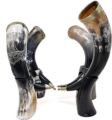 """Brainmart Drinking Horn Set, Mead, Ale, Authentic Carved Viking Drinking Horn with Stand for Beer, Polished Finish Ceramic Medieval Style Inspired by Game of Thrones Thor Hammer (13"""") (1 PK)"""