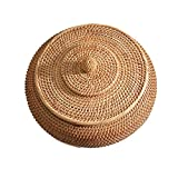 Jroyseter Rattan Boxes with Lid Rattan Handmade Woven Storage Basket Food Storage Round Bowls Organizer Container for Fruit Vegetable Bread Home Decoration