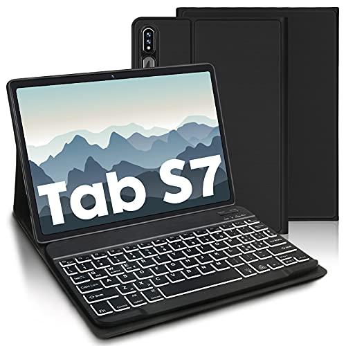 AVNICUD Teclado con funda para Samsung Galaxy Tab S7 11 pulgadas 2020, teclado desmontable Bluetooth con retroiluminación de 7 colores para Samsung Tablet (SM-T870/875), negro