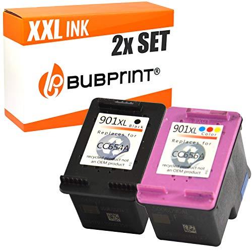 2 Bubprint Druckerpatronen kompatibel für HP 901 XL für OfficeJet 4500 Wireless J4500 J4524 J4535 J4540 J4545 J4550 J4580 J4600 J4585 J4624 J4660 J4680 J4680C Schwarz und Dreifarbig