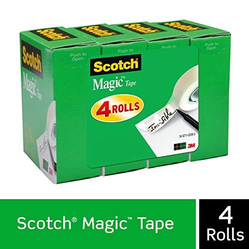 Scotchマジックテープ、3?/4?x 1000インチ、4-countパッケージ(810?K4?) サイズ: 4ロールCustomerPackageType :標準パッケージ、モデル:810?K4、オフィスアクセサリー& Supply Shop