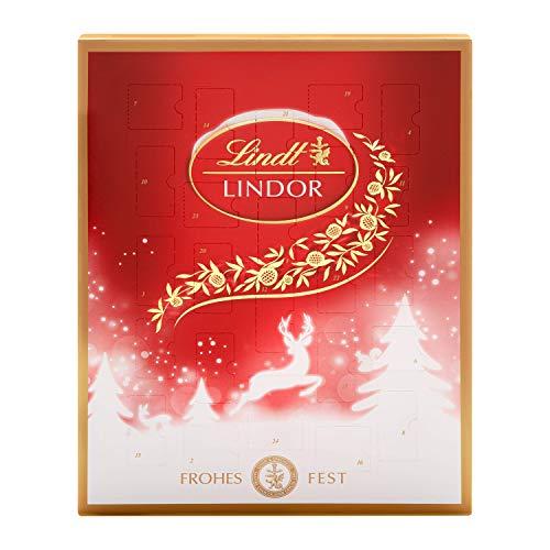 Lindt Lindor Adventskalender (24 verschiedene Überraschungen aus weißer, dunkler und Milchschokolade) glutenfrei, 290g