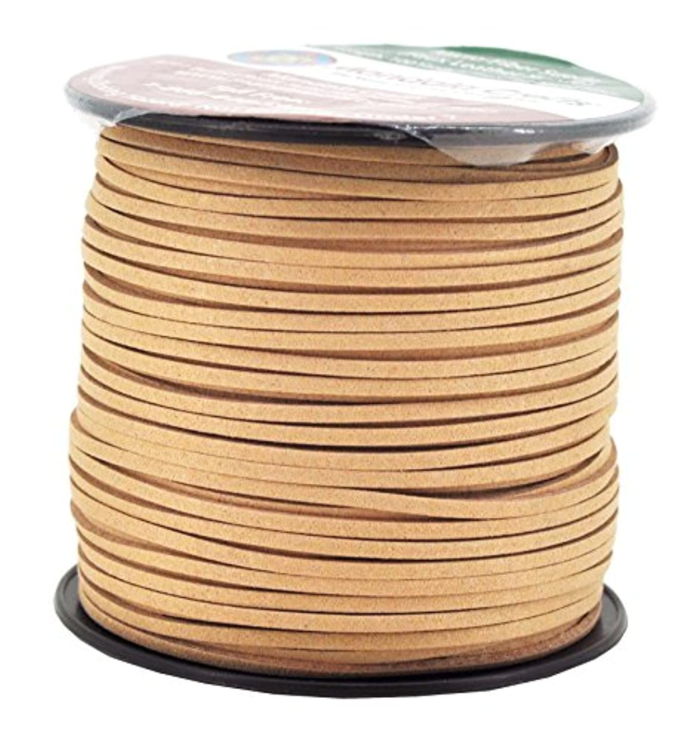 Mandala Crafts 100 Yards 2.65mm Wide Jewelry Making Flat Micro Fiber Lace Faux Suede Leather Cord (Beige)