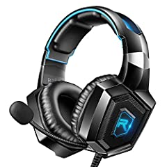 True Surround Sound Effect. RUNMUS gaming headset adopt superior 50mm audio drivers combined with advanced audio techniques. It delivers quality simulated surround sound to enhance the immersive gaming experience. All-Day Comfort. The soft ear cups w...