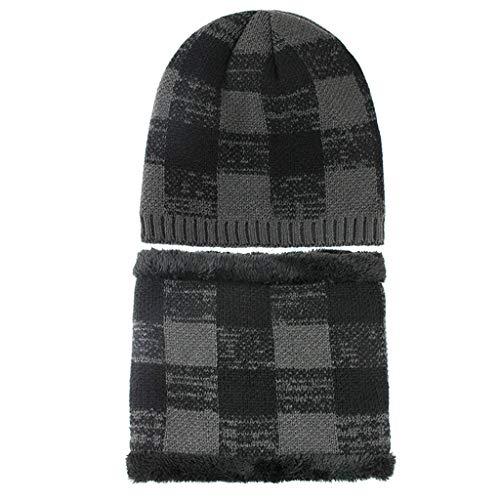 2 in 1 Herren Damen Hut Kopfbedeckung Latzhandschuhe Set sowie Samt Dicke Wollmütze Herbst und Winter Strickmütze CICIYONER