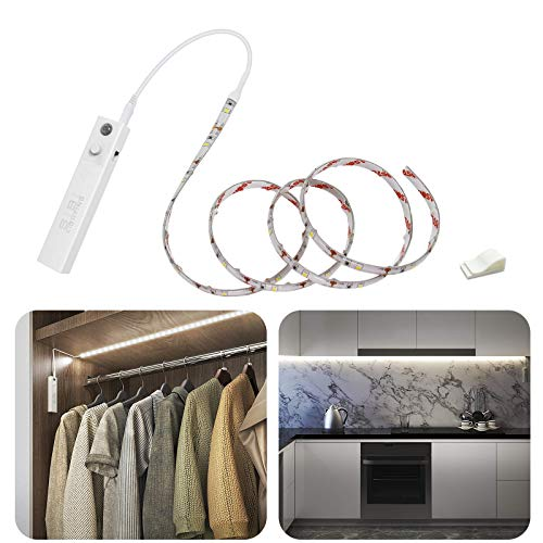 LED Band mit Bewegungsmelder, SIBI Batteriebetrieben Kleiderschrank Beleuchtung Stripe, Schranklicht Normales Weißes 4000K, Überall Aufkleben Nachtlicht für Schlafzimmer, Treppe, Schrank, 1 Pack