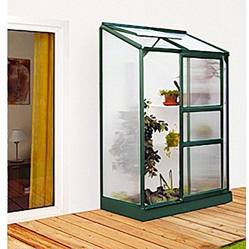 Ida 900 Alu-Anlehngewächshaus grün HKP 4 mm Balkon-Gewächshaus 0,9 m² inkl. Fundament mit 1 Dachfenster