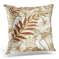 枕カバーの花と鳥を投げる白いエキゾチックな植物に野生生物の金箔の手描き高級生地のためのオウム装飾的な枕カバー家の装飾正方形45x 45cm枕カバー