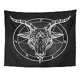 Emvency Tapestry Pentagram with Demon Baphomet Satanic Goat Head Binary Symbol Tattoo Retro Music Summer for Biker Black Home Decor Wall Hanging for Living Room Bedroom Dorm 60x80 Inches