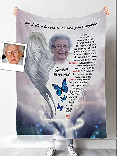 Personalized Mom/ Dad in Heaven Blanket, As I Sit in Heaven & Watch You Everyday Sherpa Fleece Blanket, Gifts for Mom/ Dad in Heaven from Daughter Son for Mother's Day, Custom Photo Memorial Blanket