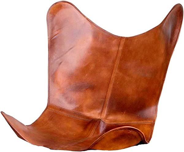 SR Leather Living Room Chairs Cover Butterfly Chair Brown Cover Handmade Genuine Leather Cover Only Cover
