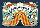 12 Einladungskarten Zirkus zum Kindergeburtstag + 13 Sticker GRATIS - für Jungen und Mädchen/Circus Zirkusparty Mitgebsel Geburtstagseinladungen Karten Einladungen Geburtstag Kinder