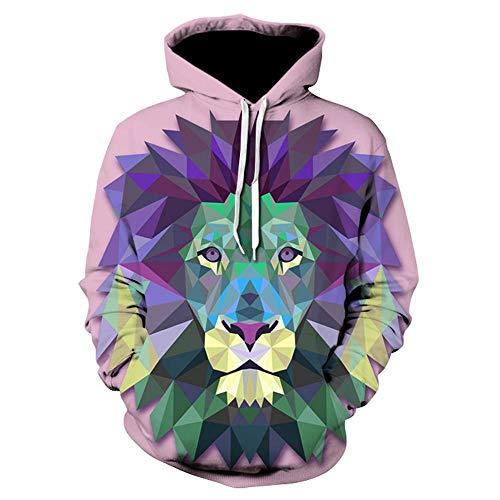 JNBGYAPS Neue Herren S Casual Hoodie Regenbogen Tiger 3D Digital Print Hoodie Langarm Herren S Street Fashion Hoodie-We-296_M