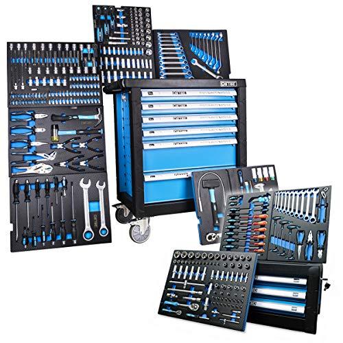DeTec. 3066 Werkstattwagen bestückt 6/6 Schubladen inkl. DeTec. Werkzeugkasten (Werkzeugkiste | Werkzeugwagen Einleger mit Carbon-Optik)