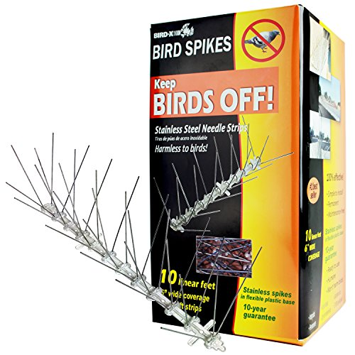Bird-X STS-10-R Regular Width 6-inch Stainless Steel Bird Spikes, Metal Roof Guard Pigeon...