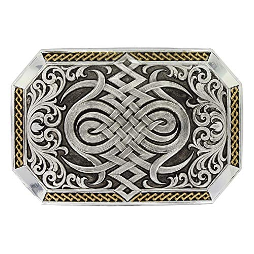 Montana Silversmiths Men's Silver Antiqued Celtic Knot Buckle Silver One Size