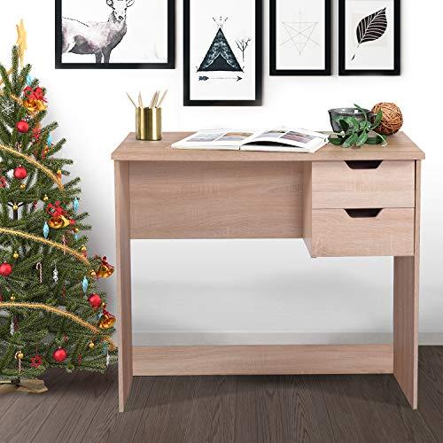 FurnitureR Mesa de Estudio de Escritorio para Ordenador con 2 cajones Laterales, Mesa clásica para el hogar, Oficina, Ordenador portátil Haya