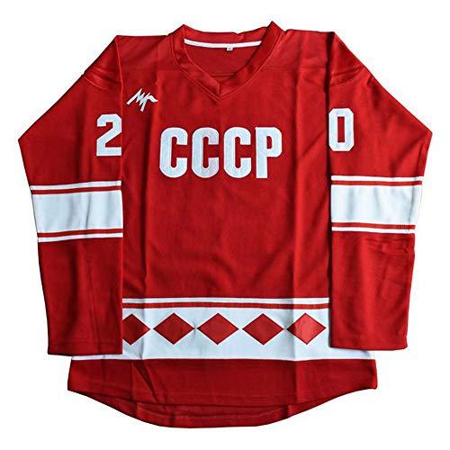 Hombres Vladislav #20 CCCP Película Hockey Hielo Jersey, Rojo, Medium