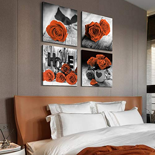 Black and White Floral Wall Art Bedroom Decor Orange Rose Canvas Prints Rose Flowers Pictures Framed Posters Modern Contemporary Artwork Office Living Room Home Decoration 4 Pieces Sets 16×16 Inch
