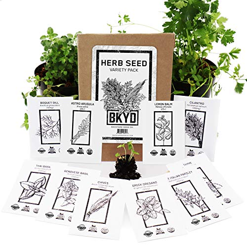 Home Garden Seeds Starter Kit   Indoor Non-GMO Herb Seed Variety Pack, Included Planting Herbs Cilantro, Parsley, Creeping Thyme, Thai Basil, Oregano, Dill, Chives, Arugula and Lemon Balm