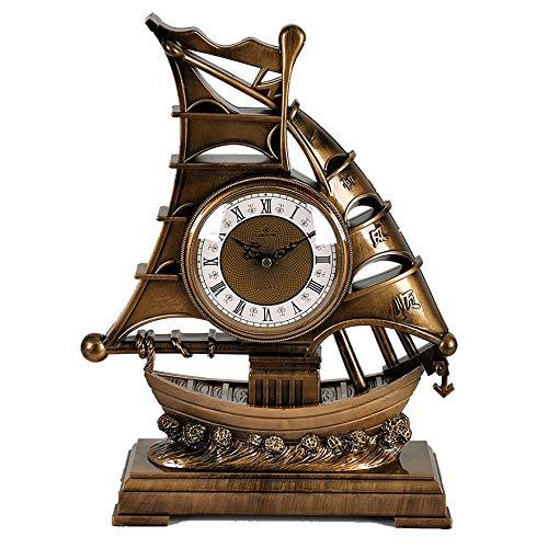 JCOCO Américain européen rétro fer voile modèle modèle horloge salon créatif vin armoire chambre décoration (Couleur : Or)